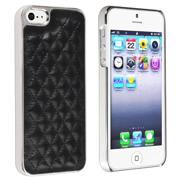 INSTEN Black Leather/ Silver Side Snap-on Phone Case Cover for Apple iPhone 5/ 5S