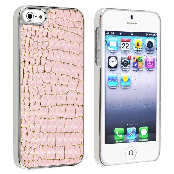 BasAcc Chrome/ Pink Crocodile Snap-on Case for Apple® iPhone 5/ 5S