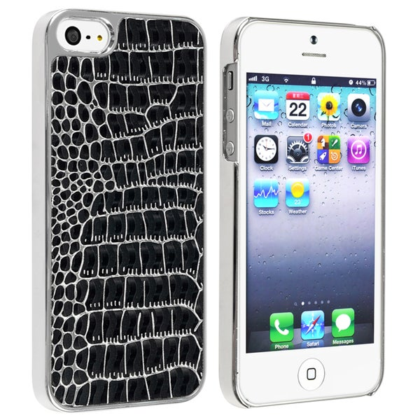 BasAcc Chrome/ Black Crocodile Snap-on Case for Apple® iPhone 5