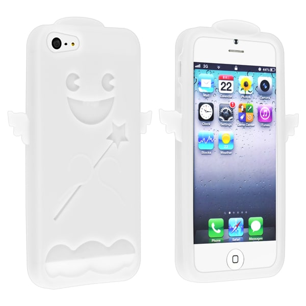 INSTEN White Angel Soft Silicone Skin Phone Case Cover for Apple iPhone 5