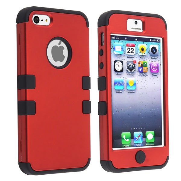 BasAcc Black Skin/ Red Hard Hybrid Case for Apple iPhone 5