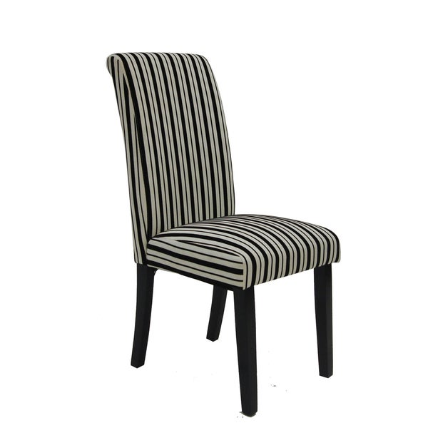Black and White Tuxedo Stripes Dining Chairs (Set of 2)
