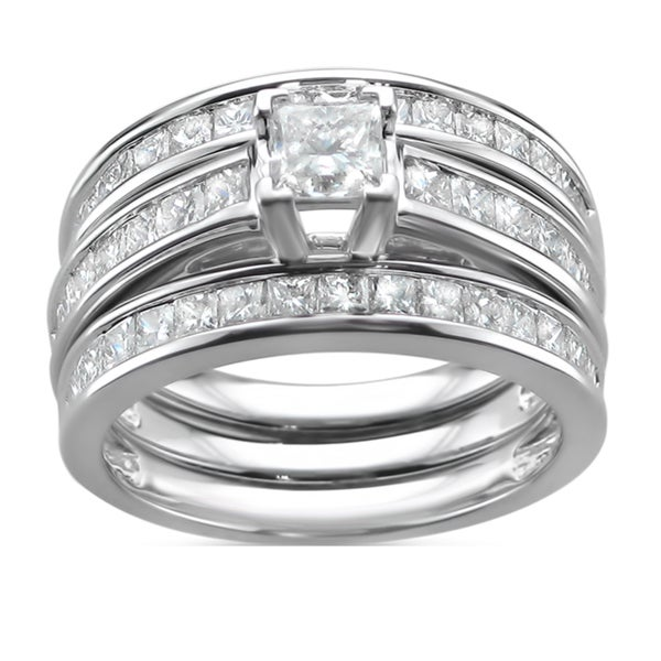 Montebello 14k Gold 2 3/4ct TDW Princess-cut Diamond 3-piece Bridal Ring Set (I-J, I1-I2)