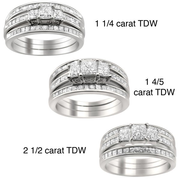 Montebello 14k Gold 1 1/4 to 2 1/2ct TDW Diamond 3-piece Bridal Ring Set (H-I, I1-I2)