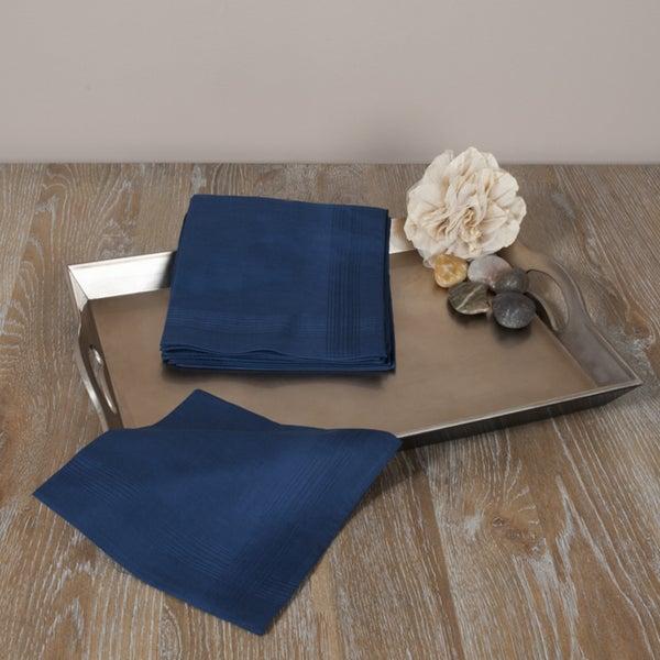 Saro Mens Navy Blue Satin Handkerchiefs (Set of 12)