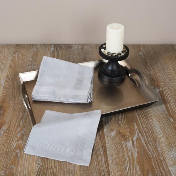 Saro Grey Satin Handkerchiefs (Set of 12)