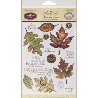 JustRite Stampers Clear STamp Set-Shabby Chic Autumn Leaves 15pc
