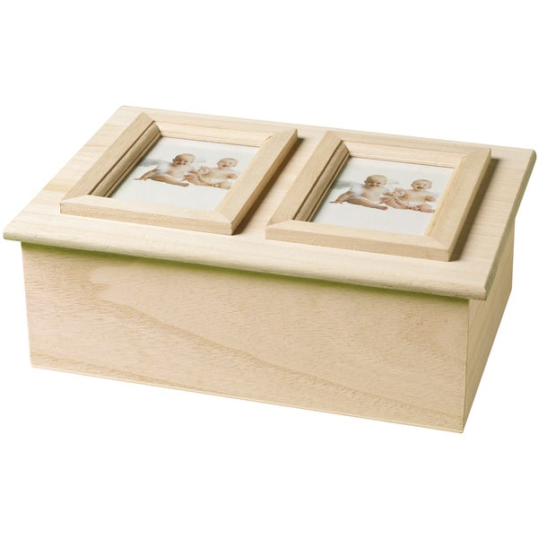 "Wood Memory Box Double Picture Frame 9-1/4""X6-1/2""X3-1/3""-"