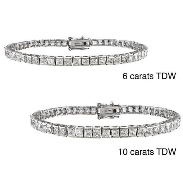 Montebello 14k Gold 6 to 10ct TDW Princess-cut Diamond Bracelet (H-I, VS2)