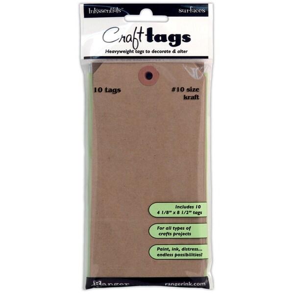 "Inkssentials Kraft Craft Tags #10 10/Pkg-4-1/8""X8-1/2"""
