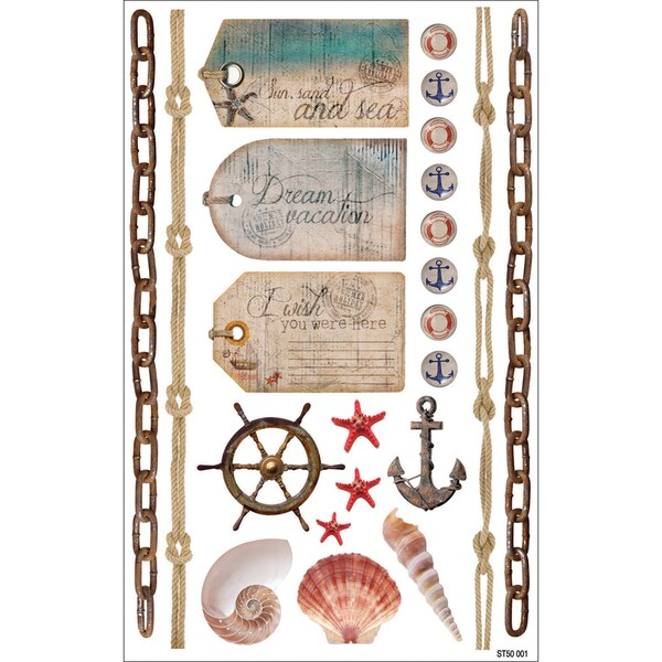 """Summer Cardstock Stickers 8.25""""X5.25""""-Pictures"""