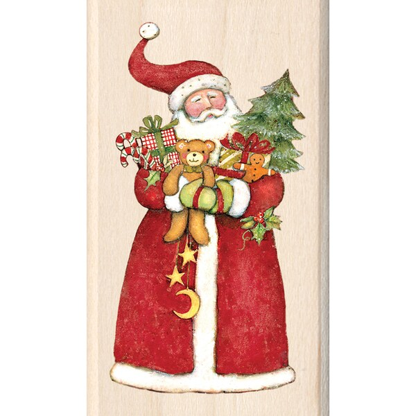 "Inkadinkado Christmas Mounted Rubber Stamp-Santa 1.75""X3"""