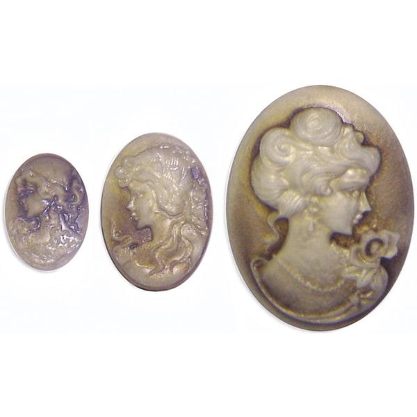 "Cameo Embellishments .5""X.75"" To 1.125""X1.5"" 3/Pkg-Oval Stone"