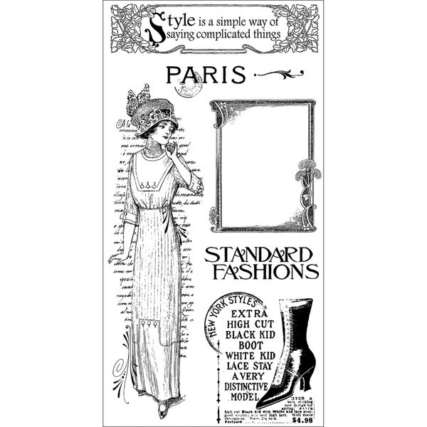 """Graphic 45 Ladies' Diary Acetate Cling Stamps 4""""X8""""-#2"""