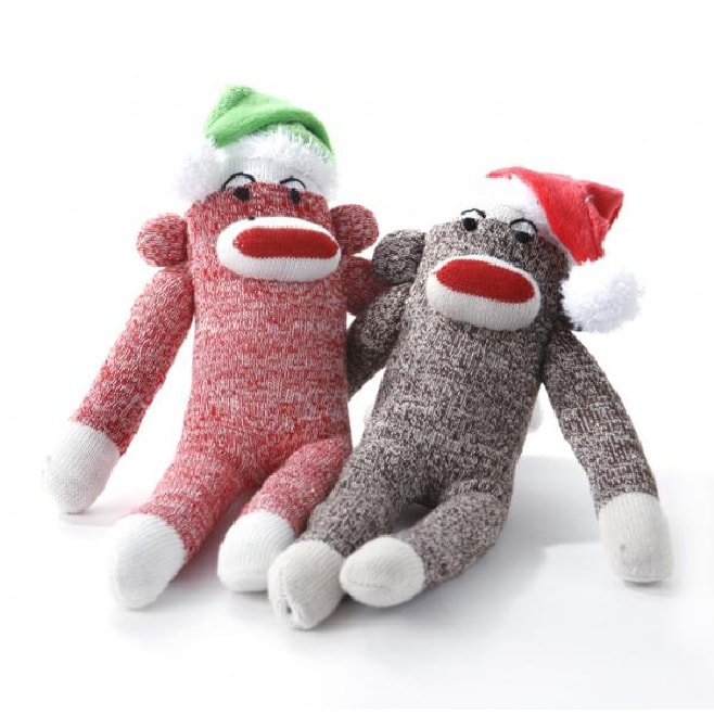 Multipet 8-inch Christmas Sock Monkey Squeaky Chew Toy (B...