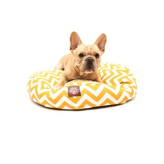 Majestic Pet Yellow Zigzag Round Dog Bed
