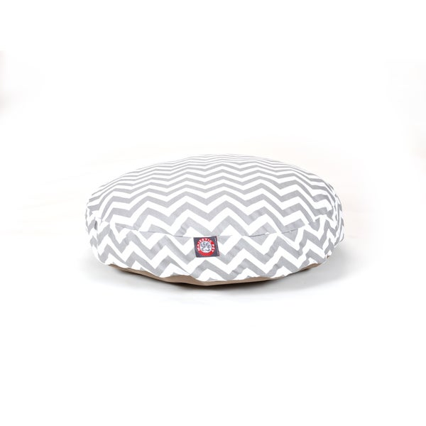 Majestic Pet Grey Zig Zag Round Pet Bed