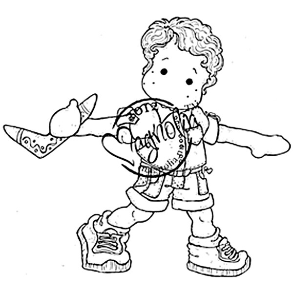 Australia Cling Stamp-Edwin With Boomerang