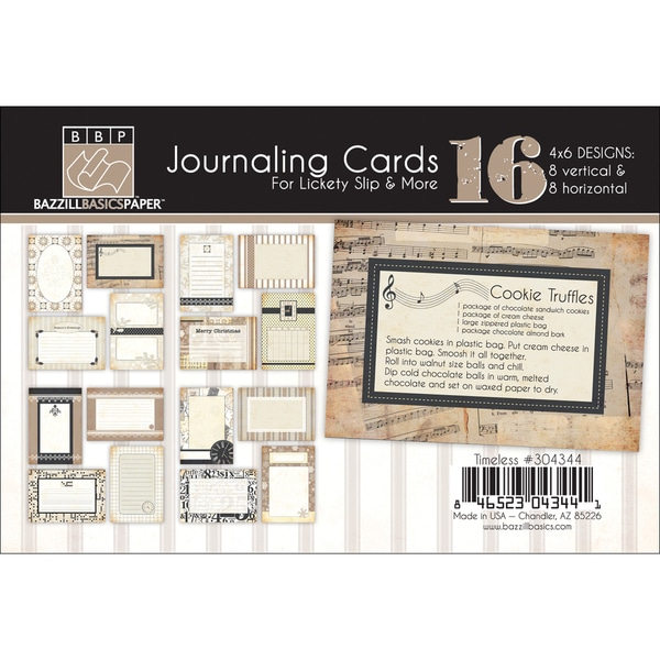 """Timeless Lickety Slip Journaling Cards 4""""X6"""" 16/Pkg-With Titles & Quotes"""