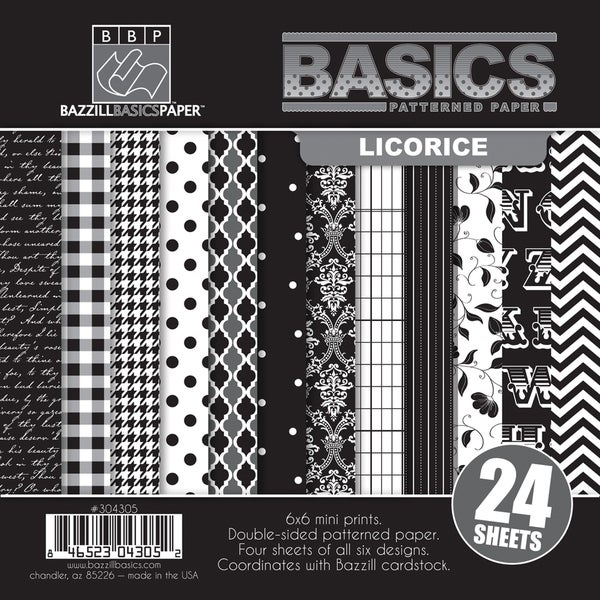 """Basics/Licorice Multi-Pack Paper 6""""X6"""" 24/Sheets-6 Double-Sided Designs/4 Each"""