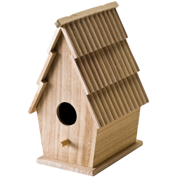 "Wood Bird House W/Shingle Roof 5""X8-3/4""X5""-"