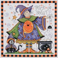 """Trick Or Treat Counted Cross Stitch Kit-8""""X8"""" 14 Count"""