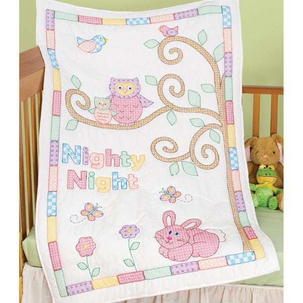 """Stamped White Quilt Crib Top 40""""X60""""-Owl And Friends"""