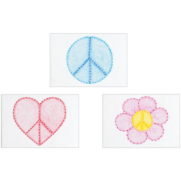 """Stamped Embroidery Kit Beginner Samplers 6""""X8"""" 3/Pkg-Peace Signs"""