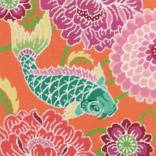 """Koi With Flowers Needlepoint Kit-14""""X14"""" Stitched In Wool & Thread"""