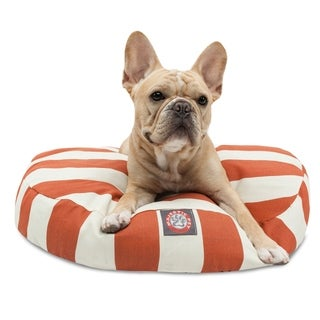 Majestic Pet Burnt Orange Vertical Stripe Round Dog Bed