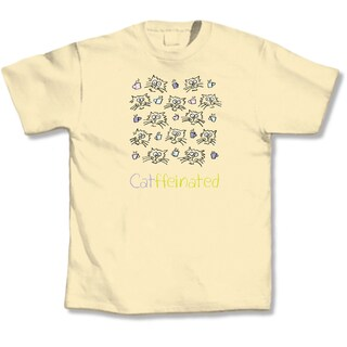 'Yellow 'Catffeinated' Cat Lovers T-Shirt (5 options available)