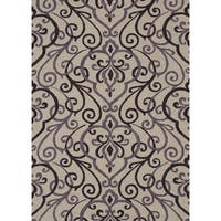 Hand-hooked Charlotte Ivory/ Grey Rug (7'6 x 9'6) - 7'6 x 9'6