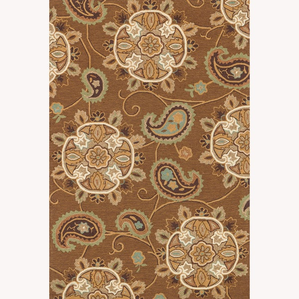Hand-hooked Charlotte Light Brown Rug (7'6 x 9'6)