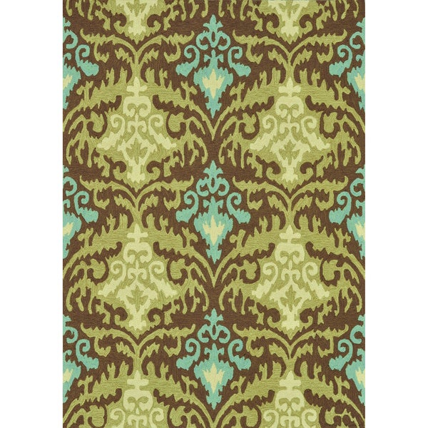Hand-hooked Charlotte Brown/ Green Rug (7'6 x 9'6)