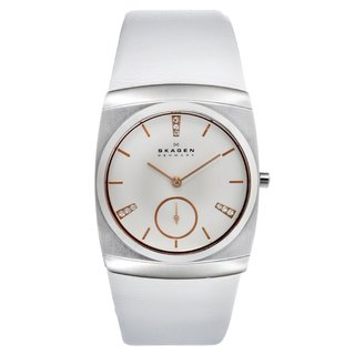 Skagen Women's 511SSLWR White Leather Stainless Steel Crystal Watch