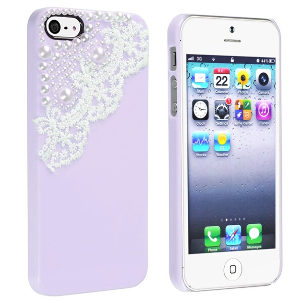 BasAcc Purple with Lace and Pearl Snap-on Case for Apple® iPhone 5