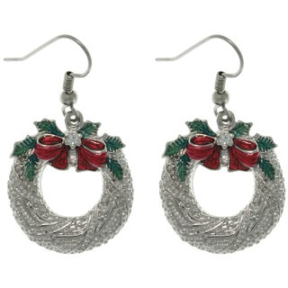 Pewter Holiday Wreath and Bow Dangle Earrings