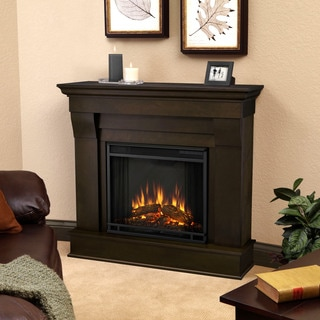 Real Flame Dark Walnut Chateau 40.94 in. L x 11.81 in. D x 37.6 in. H Electric Fireplace