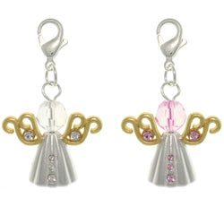 Carolina Glamour Collection Pewter Alloy Pink or Clear Crystal Angel Charm