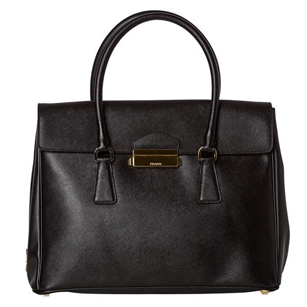 Prada Black Saffiano Leather Flap-top Tote Bag