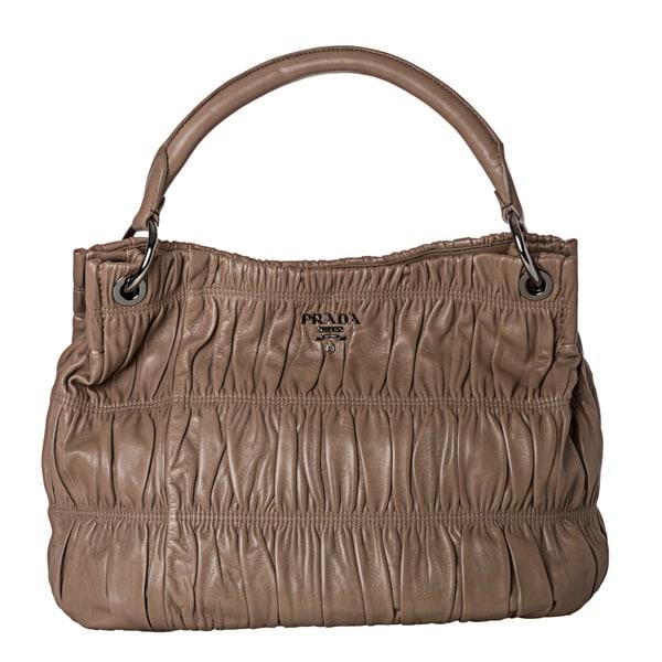 Prada 'Gaufre' Taupe Nappa Leather Hobo Bag