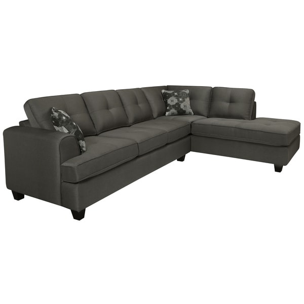 Chase Charcoal Grey Sectional Sofa   Free Shipping Today   Overstock.com    14955530