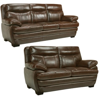 Storm Walnut Brown Italian Leather Sofa and Loveseat