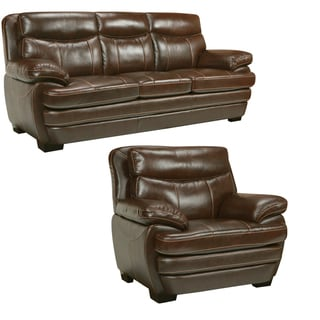 Storm Walnut Brown Italian Leather Sofa and Chair
