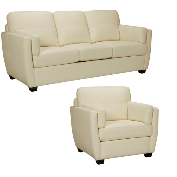 Shop Yellow Italian Leather Sofa: Shop Hamilton Ivory Italian Leather Sofa And Chair