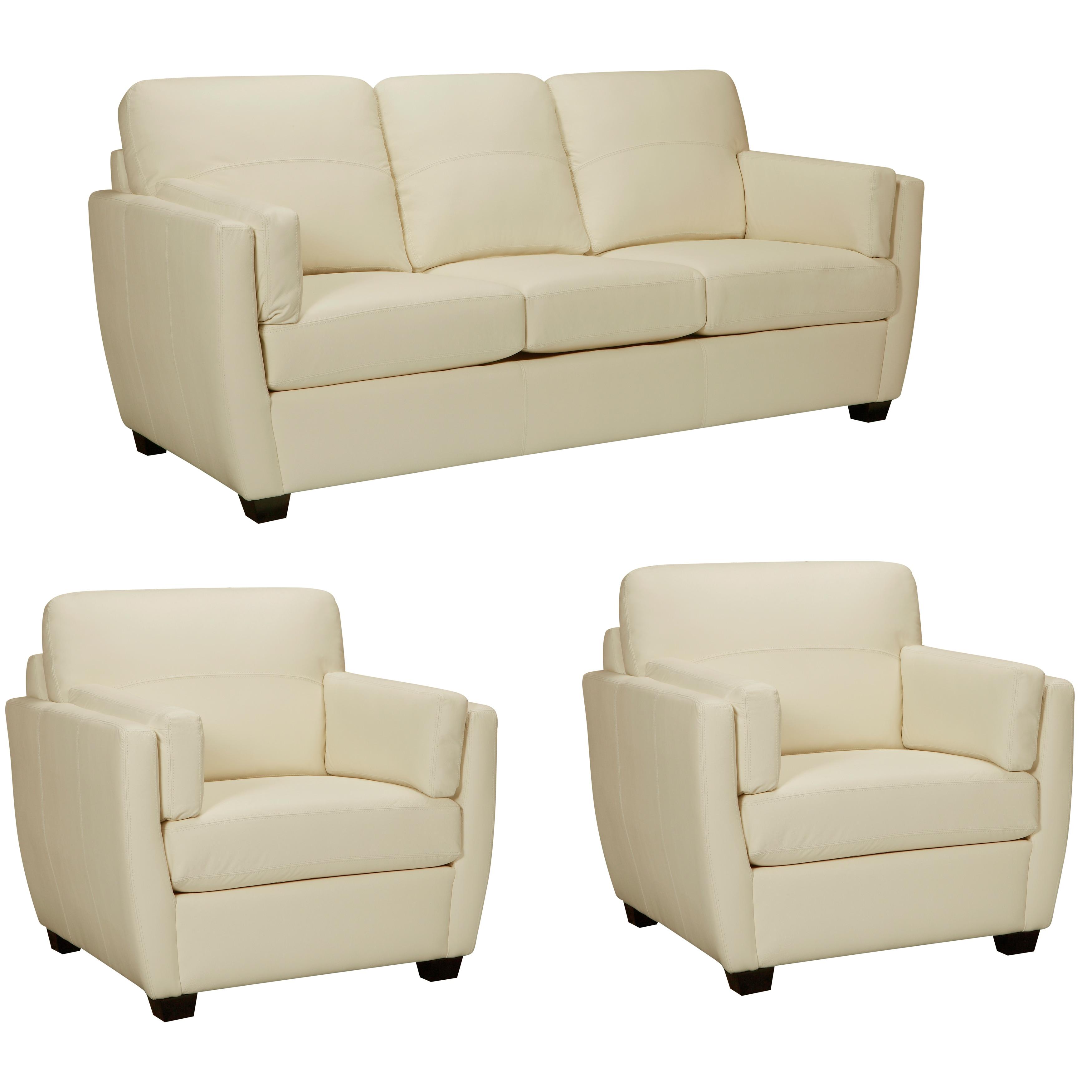 Hamilton Ivory Italian Leather Sofa and Two Chairs Cream