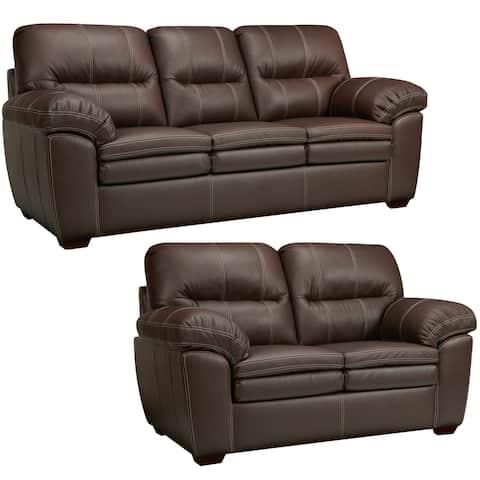 Hawkins Java Brown Italian Leather Sofa and Loveseat