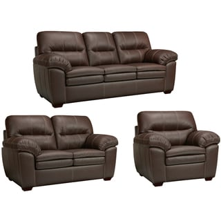 Hawkins Java Brown Italian Leather Sofa, Loveseat and Chair