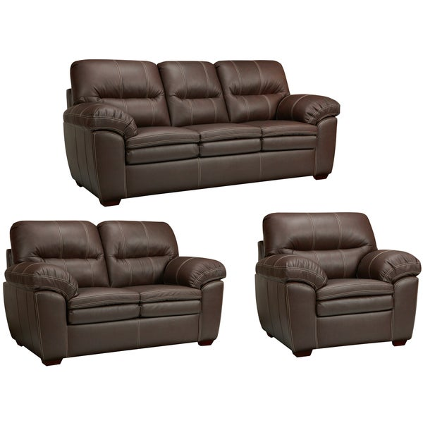 hawkins java brown italian leather sofa loveseat and chair - Italian Leather Sofa