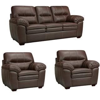 Hawkins Java Brown Italian Leather Sofa and Two Chairs